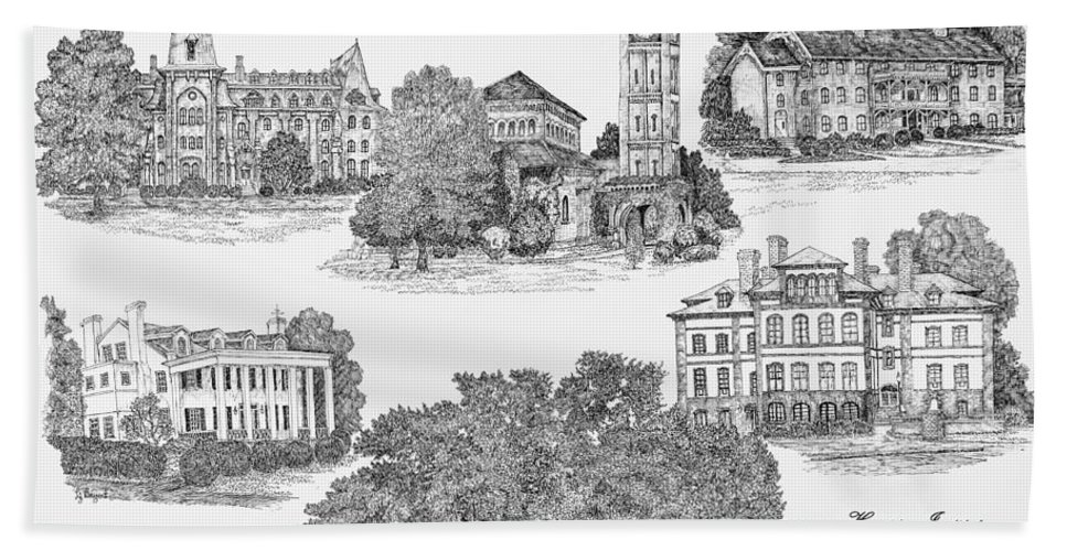 Illustrations Hand Towel featuring the digital art Hampton Institute by Jessica Bryant