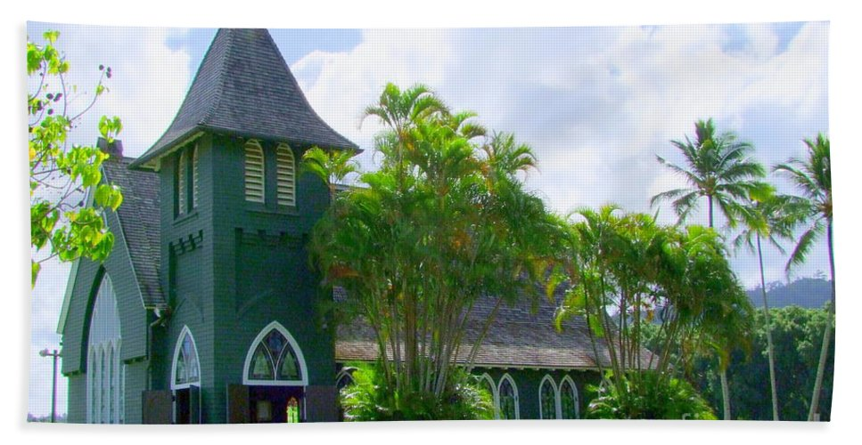 Church Hand Towel featuring the photograph Hanalei Church by Mary Deal