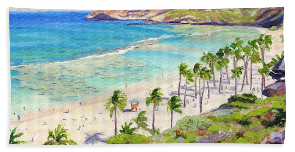 Hanauma Bay Hand Towel featuring the painting Hanauma Bay - Oahu by Steve Simon
