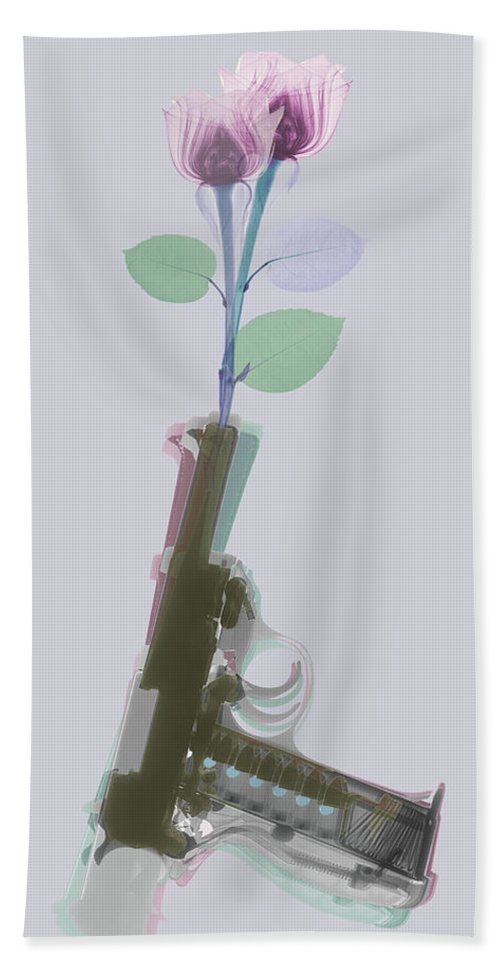 Walther P38 Hand Towel featuring the photograph Hand Gun And Flower X-ray 3 by Tony Rubino