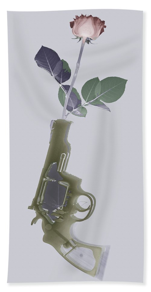Colt Hand Towel featuring the photograph Hand Gun And Flower X-ray Series 1 by Tony Rubino