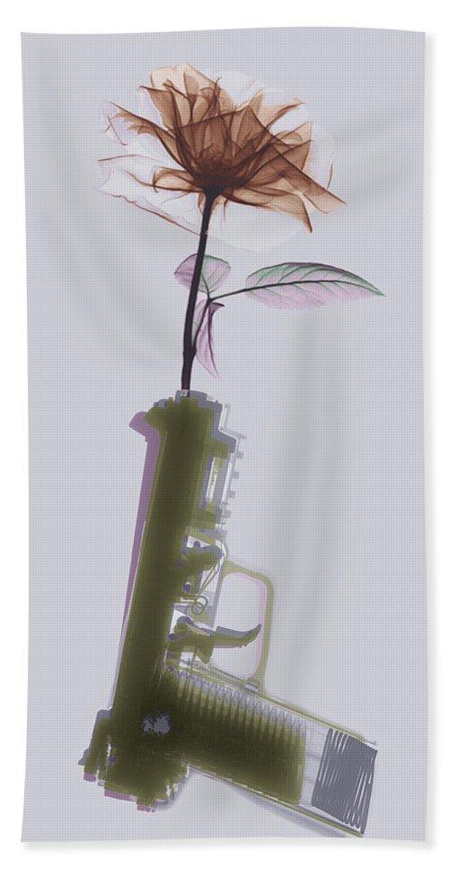 Fn 57 Bath Sheet featuring the photograph Hand Gun And Flower X-ray Series 2 by Tony Rubino