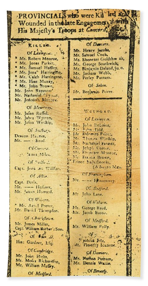 1775 Hand Towel featuring the photograph Handbill: Casualties, 1775 by Granger