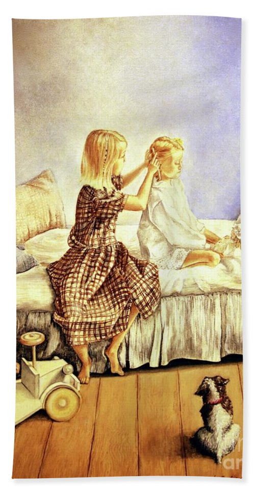 Animals Bath Towel featuring the painting Hands Of Devotion - Childhood by Linda Simon