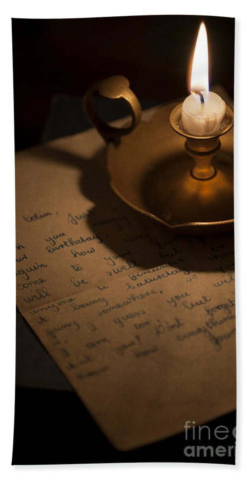 Candle Bath Sheet featuring the photograph Handwritten Letter By Candle Light by Lee Avison