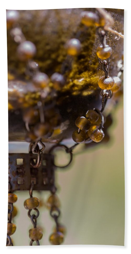 Beads Hand Towel featuring the photograph Hanging Beaded Votive Abstract 2 by Scott Campbell