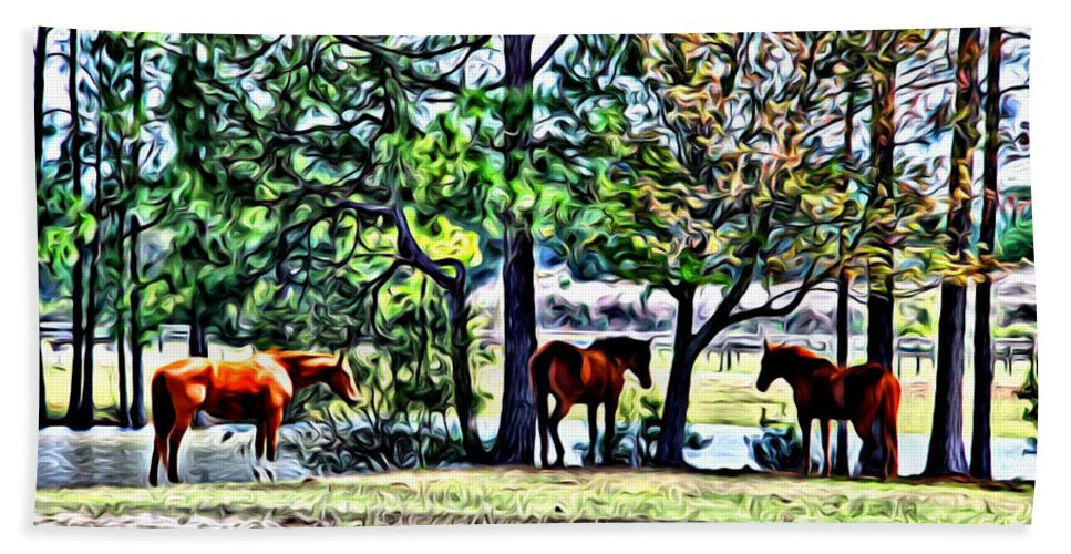 Horses Pond Florida Barn Scenic Alicegipsonphotographs Bath Sheet featuring the photograph Hanging By The Pond by Alice Gipson