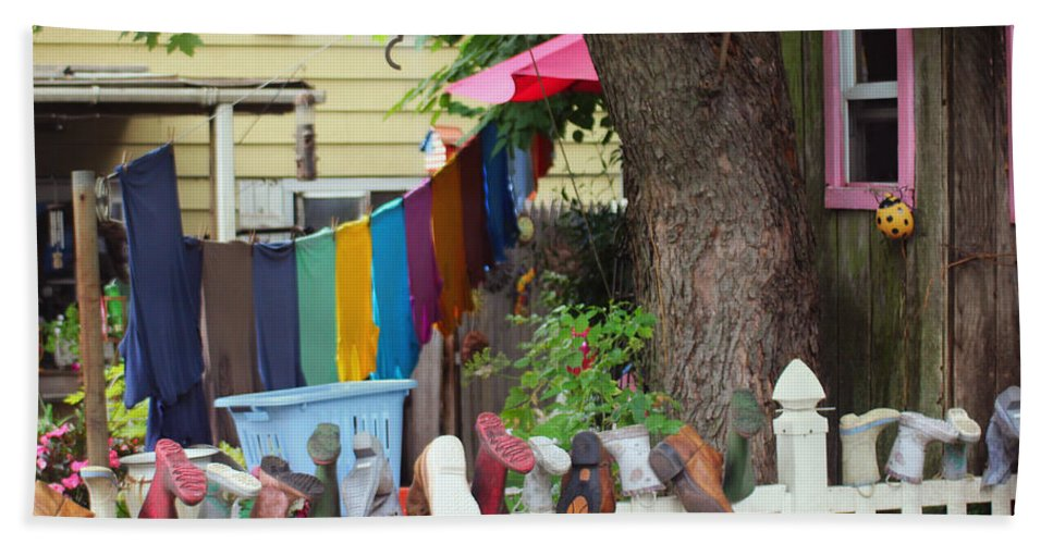 Laundry Line Hand Towel featuring the photograph Hanging Out To Dry by Beth Ferris Sale