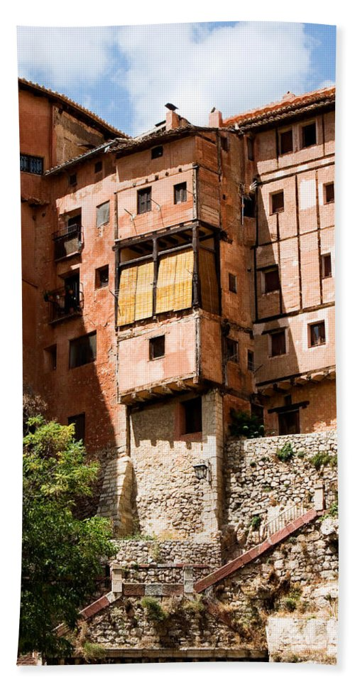Albarracin Hand Towel featuring the photograph Hanging Red Houses by Weston Westmoreland