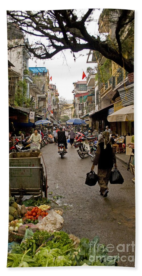 Hanoi Street Market Hand Towel featuring the photograph Hanoi Street Market  by J L Woody Wooden