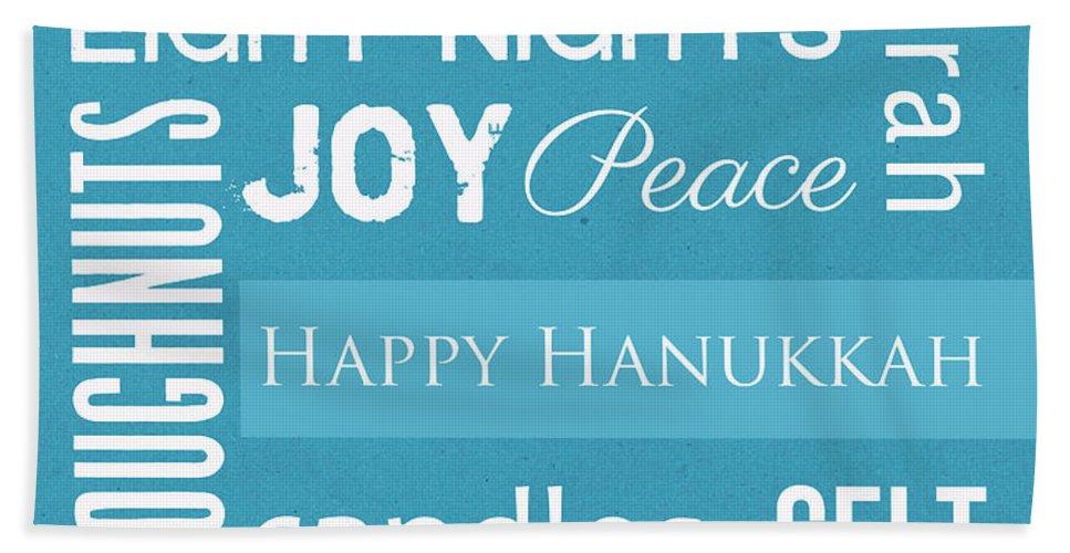 Hanukkah Hand Towel featuring the mixed media Hanukkah Fun by Linda Woods