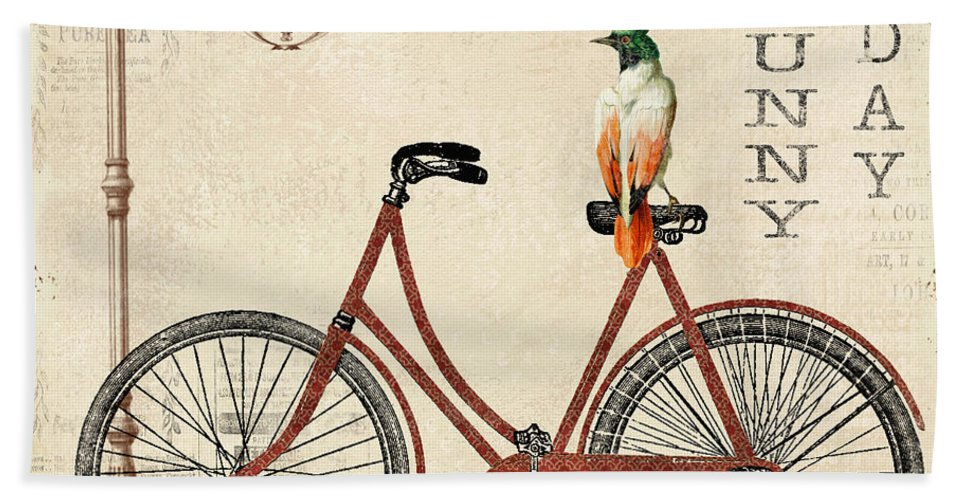 Digital Hand Towel featuring the digital art Happiness Is My Bicycle by Jean Plout