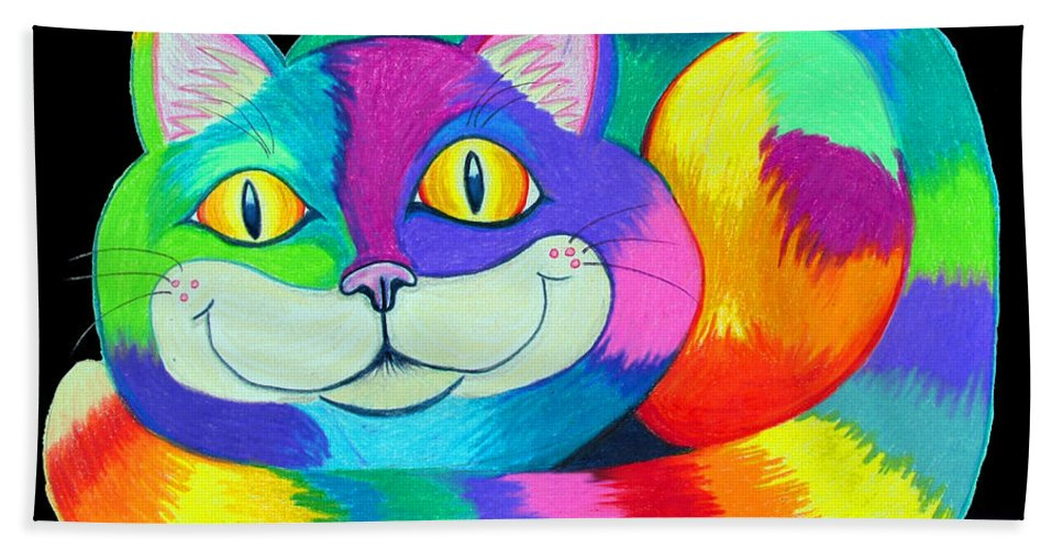 Cat Bath Sheet featuring the drawing Happy Cat Dark Back Ground by Nick Gustafson