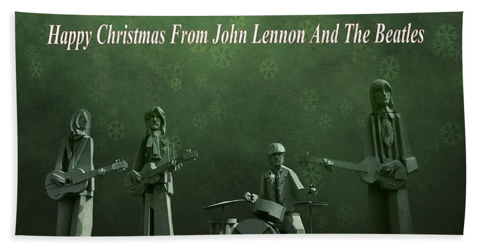 Happy Christmas From John Lennon Bath Towel featuring the photograph Happy Christmas From John Lennon by Dan Sproul