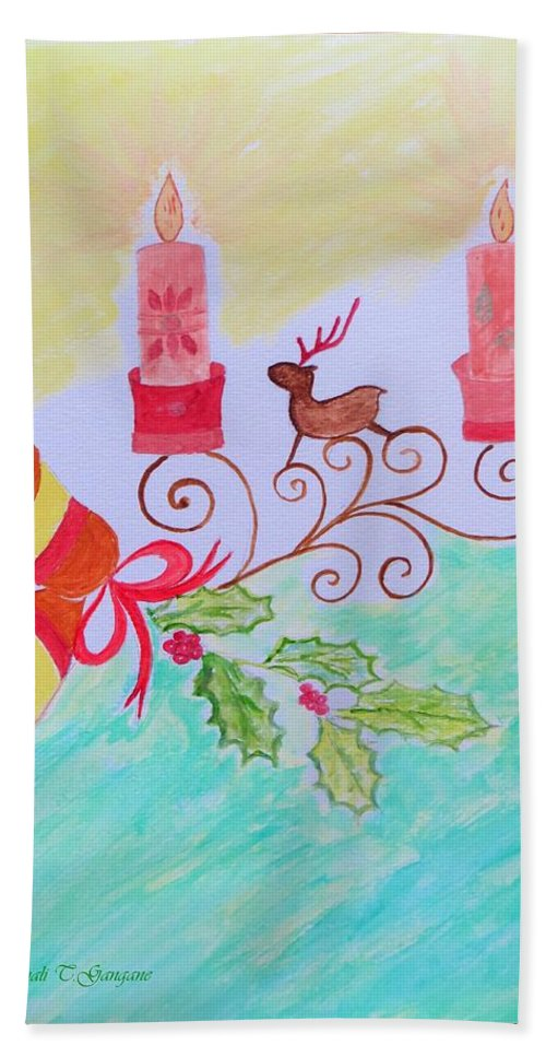 Reindeer Christmas Hand Towel featuring the painting Happy Christmas by Sonali Gangane