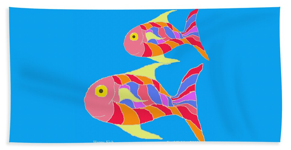 Happy Fish Hand Towel featuring the painting Happy Fish by Fred Jinkins