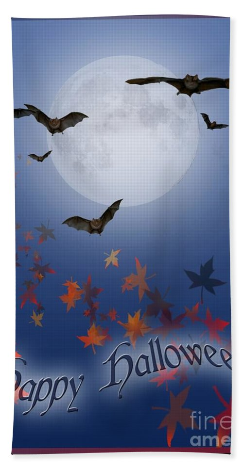 Halloween Hand Towel featuring the digital art Happy Halloween by Melissa A Benson