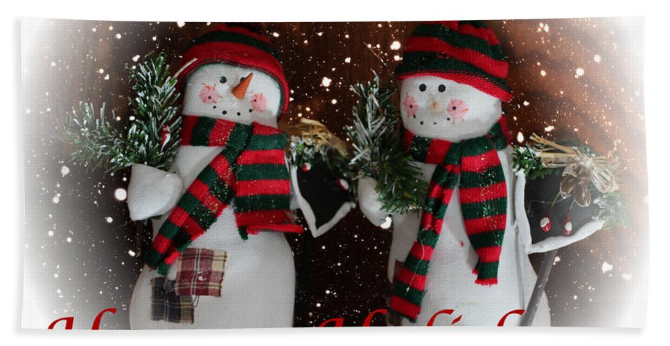 Happy Holidays Hand Towel featuring the photograph Happy Holidays - Christmas - Snowman Collection - Greeting Cards by Barbara Griffin