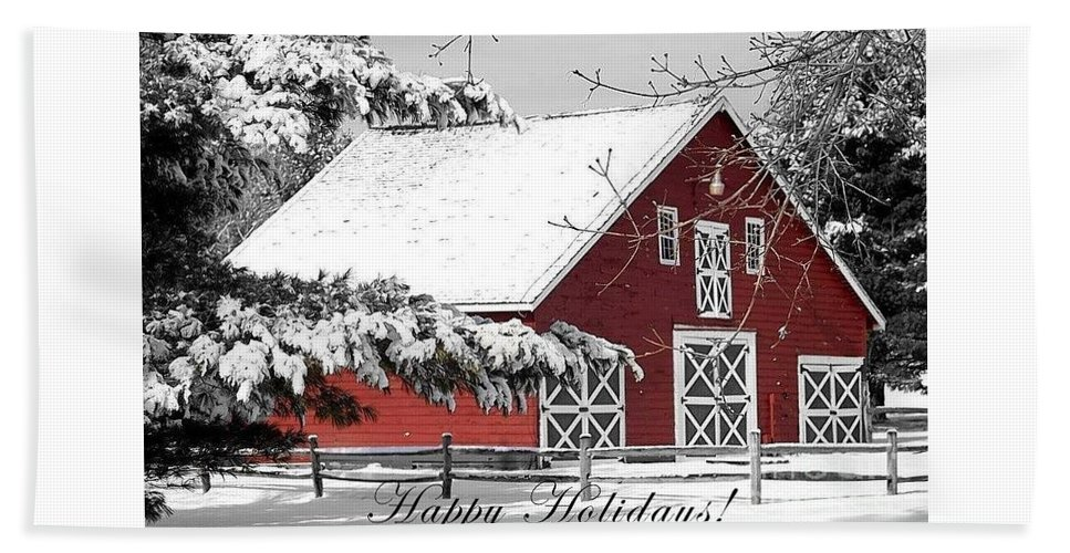 Red Barn Bath Sheet featuring the photograph Happy Holidays by Living Color Photography Lorraine Lynch