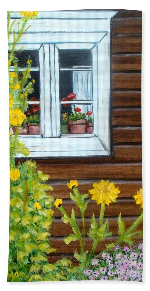 Window Hand Towel featuring the painting Happy Homestead by Laurie Morgan