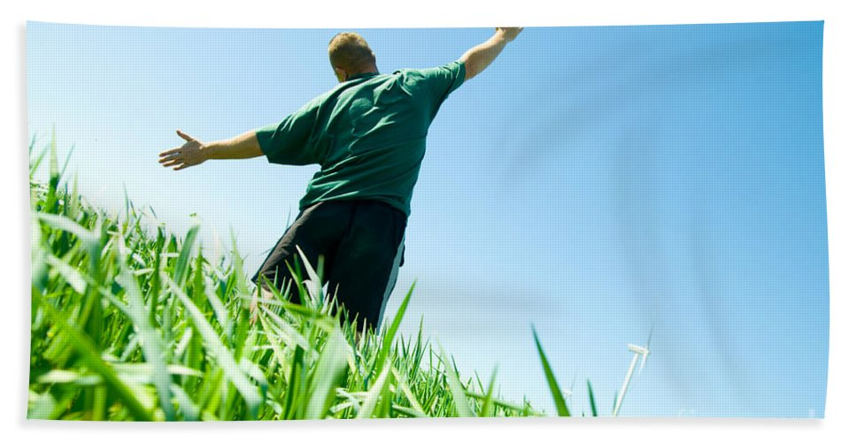 Active Bath Sheet featuring the photograph Happy Man On The Summer Field by Michal Bednarek