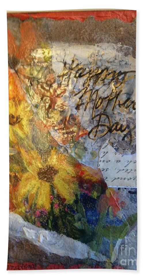 Mother's Day Bath Sheet featuring the painting Happy Mothers Day by Sherry Harradence