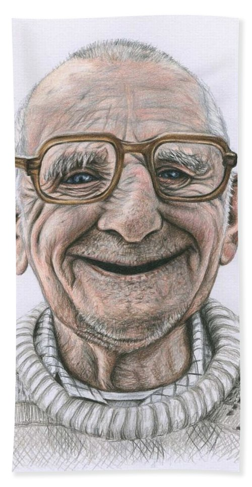 Portrait Hand Towel featuring the drawing Happy Polish Man by Nicole Zeug