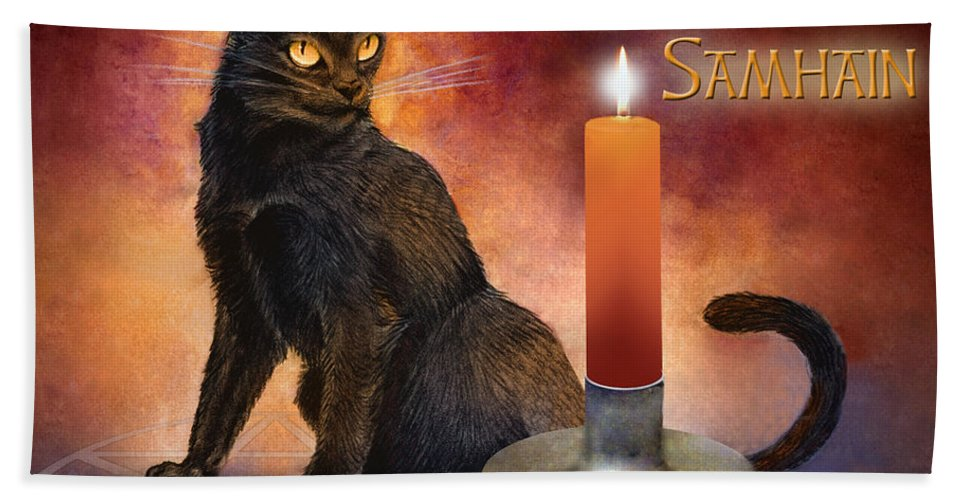 Kitten Reborn Black Wiccan Pentagram Holiday Cool black Cat guide happy Samhain wheel Of The Year Pagan Awesome Harvest Cat Wicca Pentacle Celebration Candle Altar Ritual Orange Red Purple Blue Bath Sheet featuring the digital art Happy Samhain Kitten And Candle by Melissa A Benson