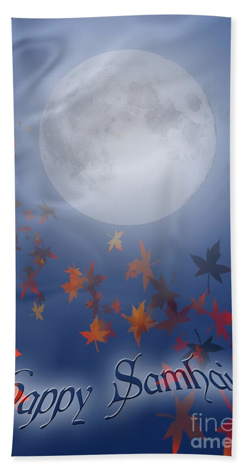 Autumn Hand Towel featuring the digital art Happy Samhain Moon And Veil by Melissa A Benson