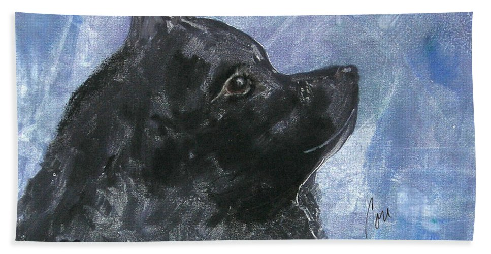 Schipperke Hand Towel featuring the mixed media Happy Skipper by Cori Solomon