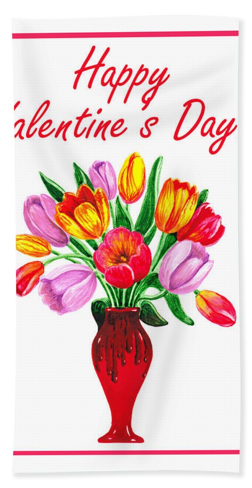 Tulips Hand Towel featuring the painting Happy Valentines Tulip Bouquet by Irina Sztukowski