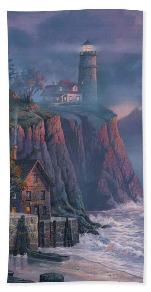 Michael Humphries Bath Towel featuring the painting Harbor Light Hideaway by Michael Humphries