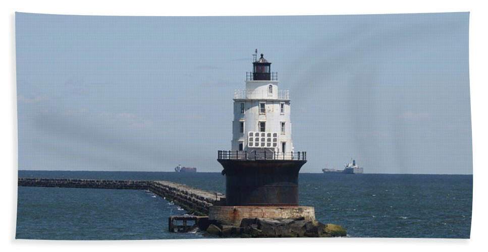 Lighthouse Bath Sheet featuring the photograph Harbor Of Refuge Lighthouse by Christiane Schulze Art And Photography