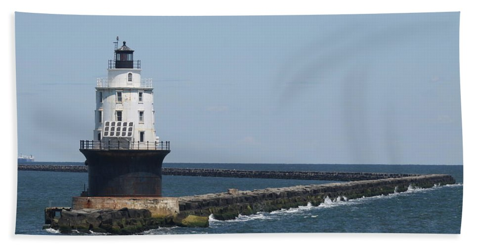 Lighthouse Hand Towel featuring the photograph Harbor Of Refuge Lighthouse II by Christiane Schulze Art And Photography