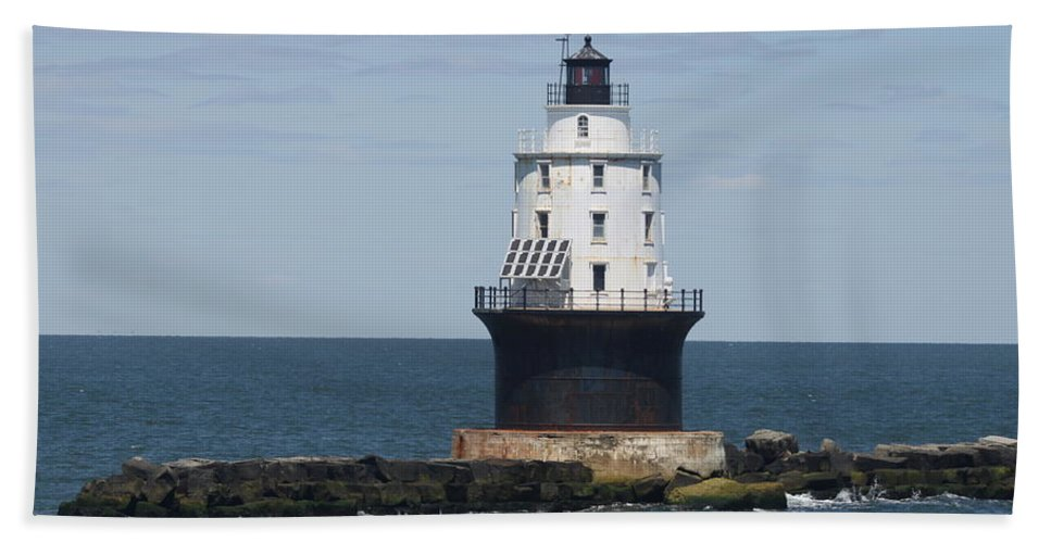 Lighthouse Bath Sheet featuring the photograph Harbor Of Refuge Lighthouse IIi by Christiane Schulze Art And Photography
