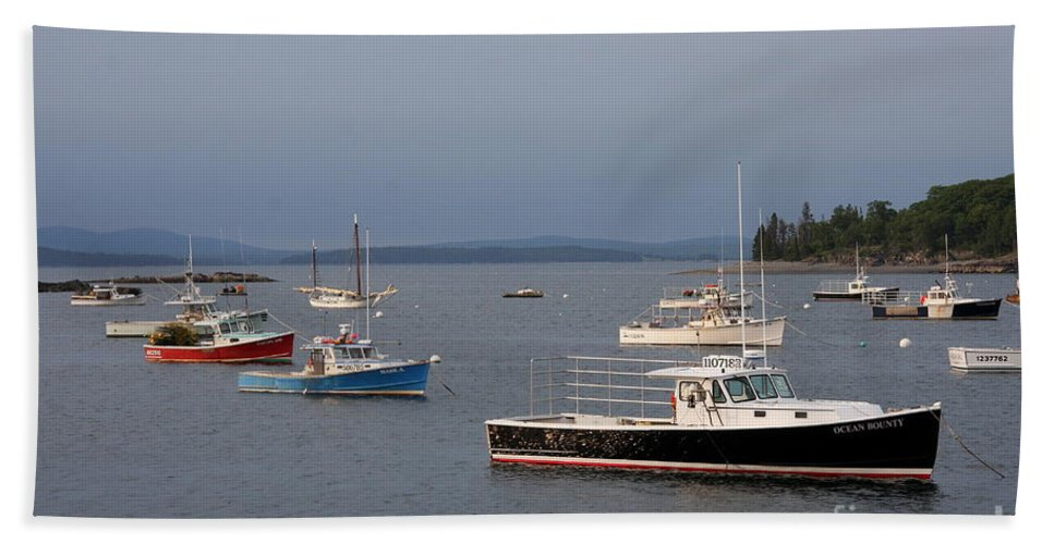 Harbor Hand Towel featuring the photograph Harbor Scene I - Maine by Christiane Schulze Art And Photography