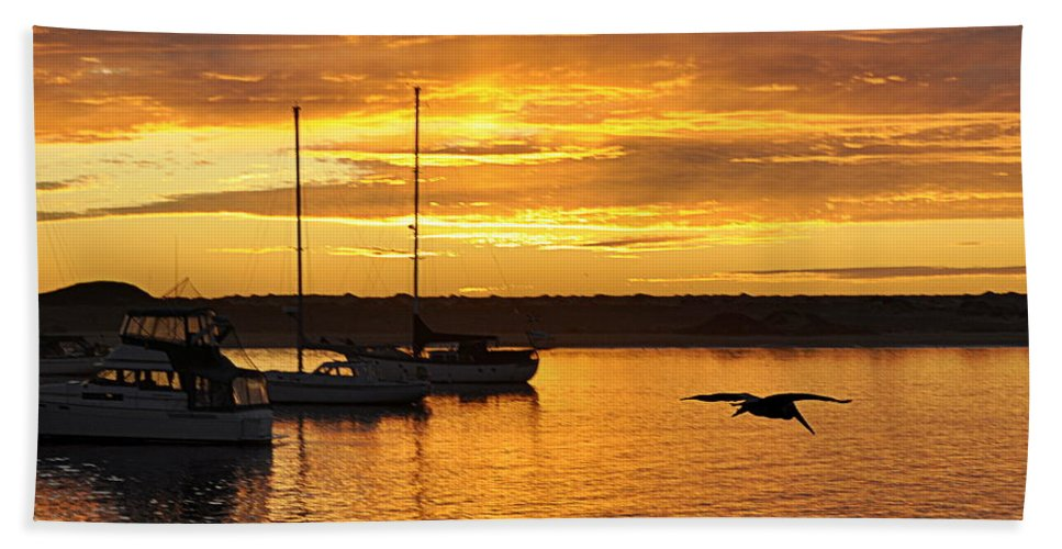 Scenic Bath Sheet featuring the photograph Harbor Sunset by AJ Schibig