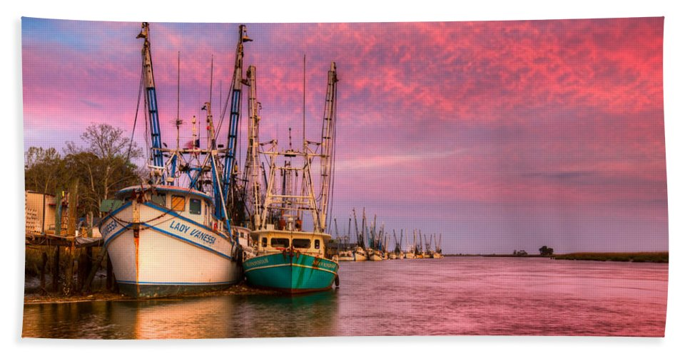 Boats Hand Towel featuring the photograph Harbor Sunset by Debra and Dave Vanderlaan