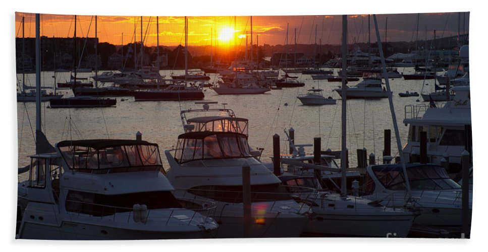 Harbor Hand Towel featuring the photograph Harbor Sunset by Ray Konopaske