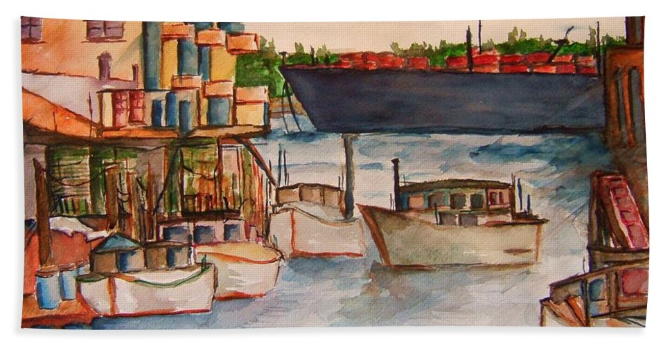 Harbour Bath Sheet featuring the painting Harbour by Elaine Duras