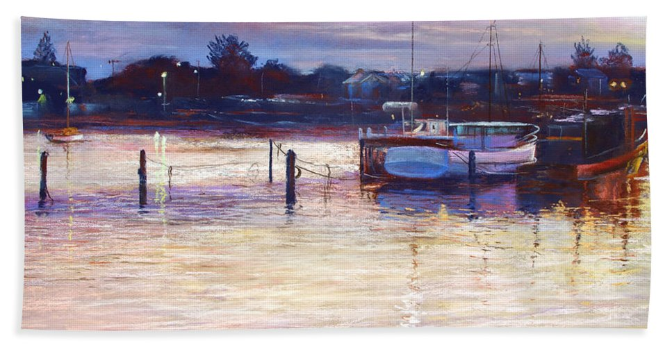 Lynda Robinson Bath Towel featuring the pastel Harbour Lights - Apollo Bay by Lynda Robinson