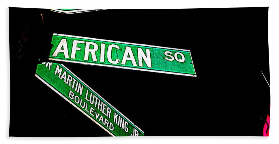 Signs Hand Towel featuring the photograph Harlem Crossroads by Ed Weidman
