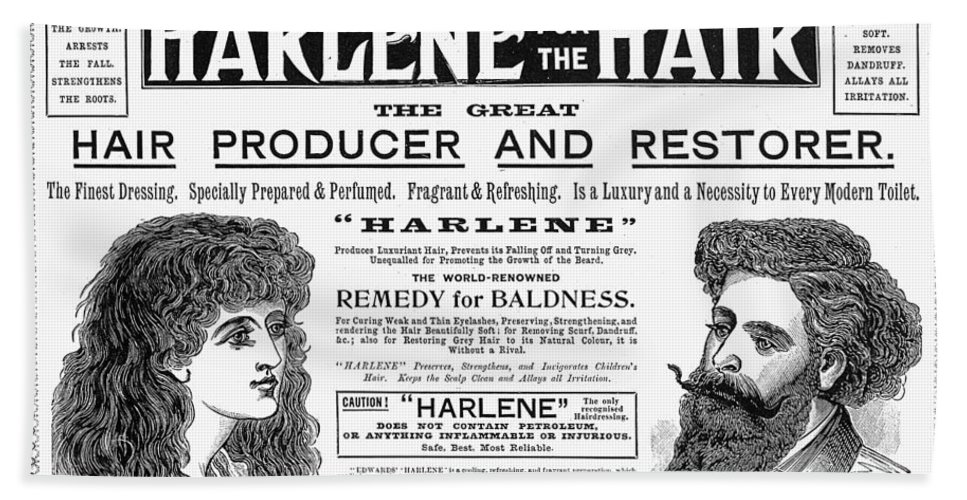 1897 Bath Sheet featuring the photograph Harlene For The Hair, 1897 by Granger