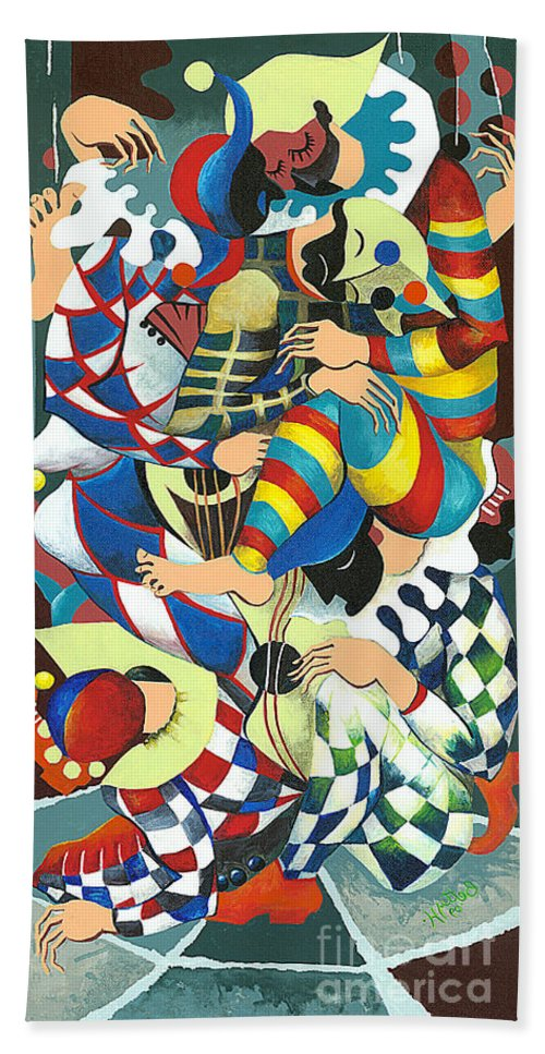 Canvas Prints Hand Towel featuring the painting Harlequins Acting Weird - Why?... by Elisabeta Hermann