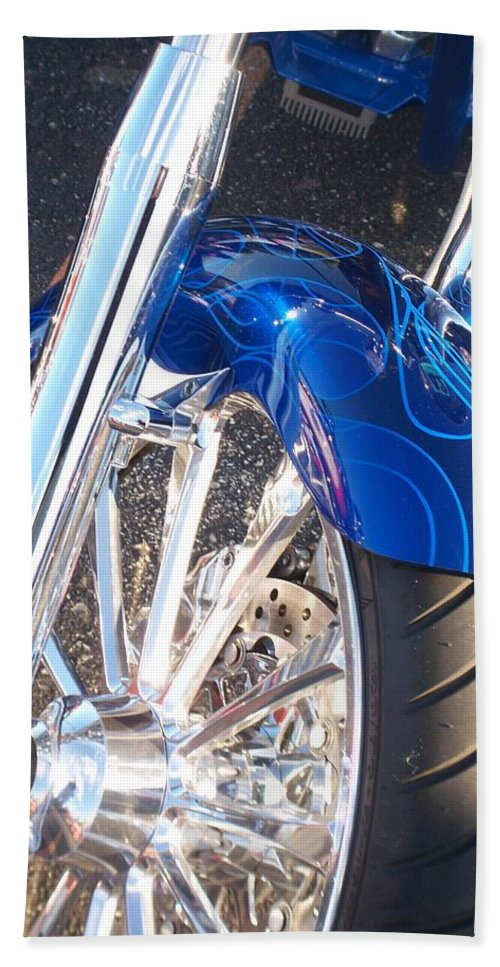 Motorcycles Hand Towel featuring the photograph Harley Close-up Blue Flame by Anita Burgermeister