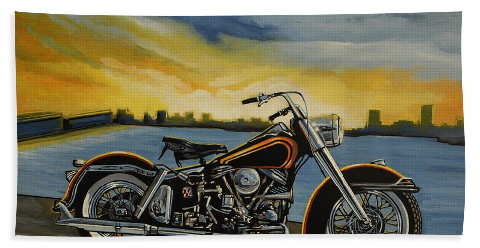 Harley Davidson Bath Towel featuring the painting Harley Davidson Duo Glide by Paul Meijering