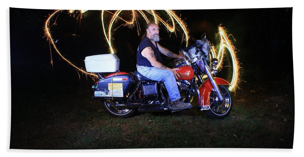 Jdavidson Hand Towel featuring the photograph Harley Davidson Light Painting by Gary Keesler