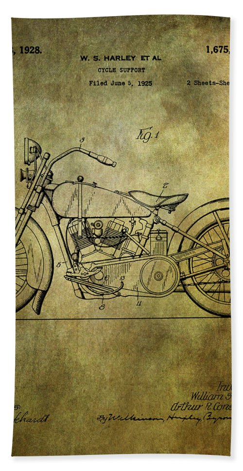 Harley Davidson Hand Towel featuring the photograph Harley Davidson Motorbike Patent by Chris Smith