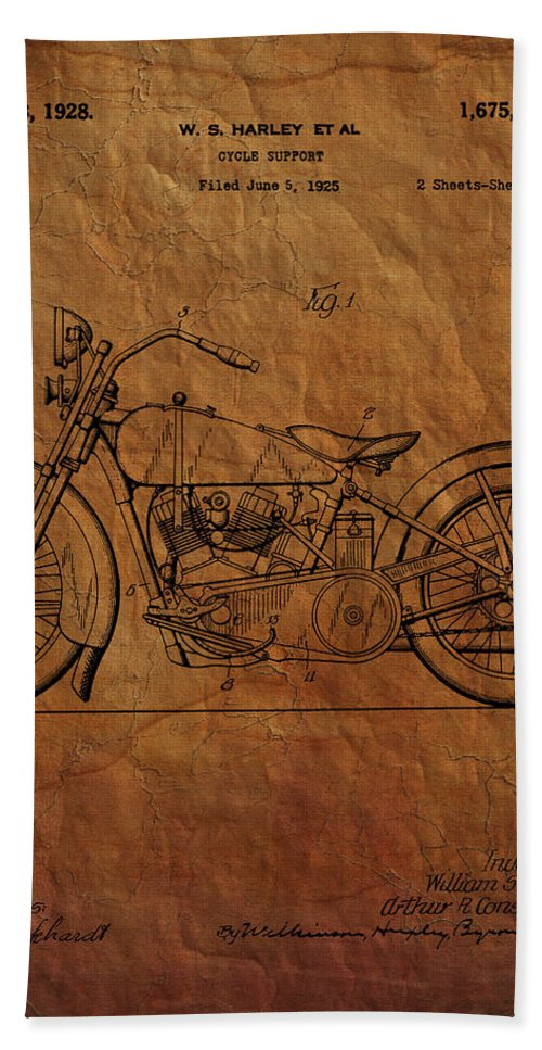 Harley Davidson Bath Sheet featuring the photograph Harley Davidson Patent by Chris Smith