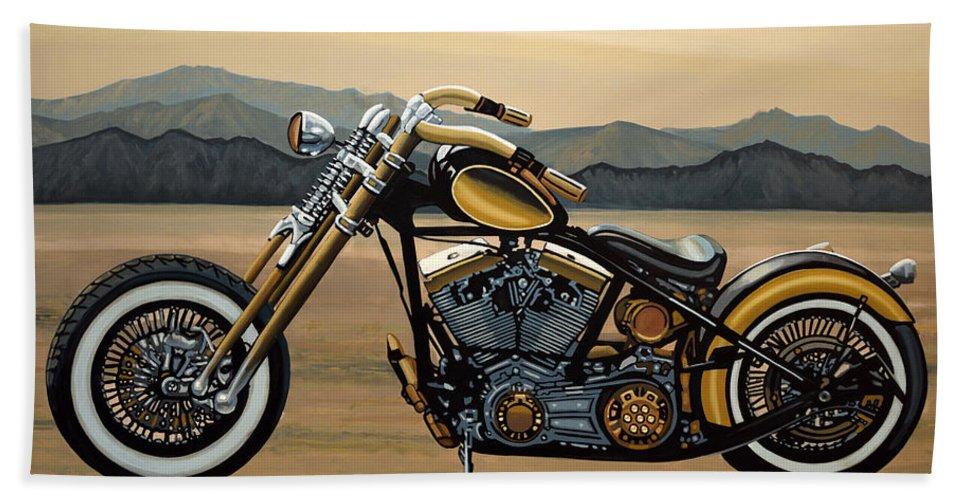 Harley Davidson Bath Towel featuring the painting Harley Davidson by Paul Meijering